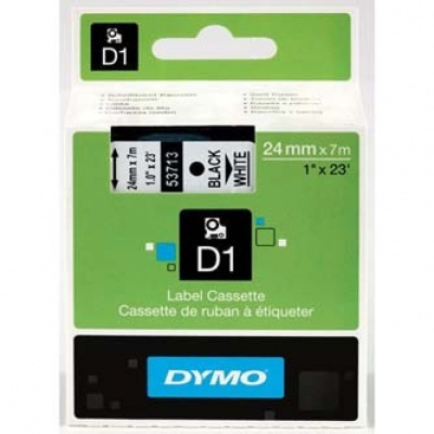Dymo D1 53713, S0720930, 24mm x 7m black text / white tape, original tape