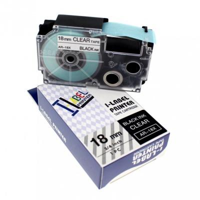 Casio XR-18X1, 18mm x 8m black / clear, compatible tape