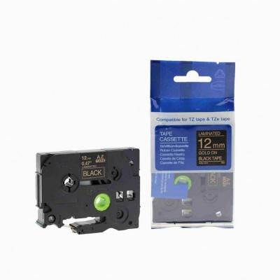 Brother TZ-334 / TZe-334, 12mm x 8m, gold / black, compatible tape