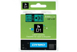 Dymo D1 40919, S0720740, 9mm x 7m black text / green tape, original tape