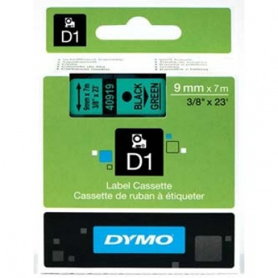 Dymo D1 40919, S0720740, 9mm x 7m black text / green tape, original tape
