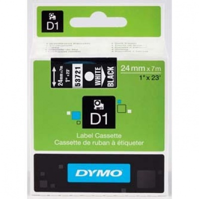 Dymo D1 53721, S0721010 , 24mm x 7m white text / black tape, original tape