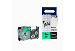 Compatible with tape Casio XR-9GN1, 9mm x 8m black printing / green background