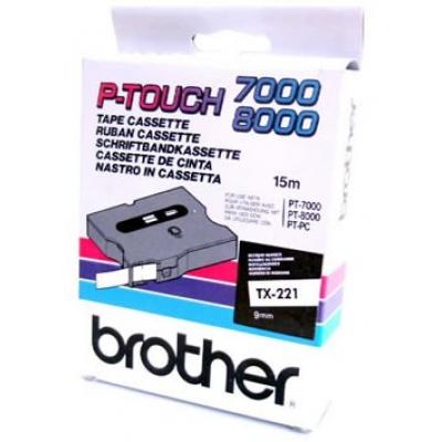 Brother TX-221, 9mm x 8m, black text / white tape, original tape