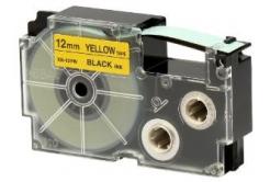 Casio XR-12YW1, 12mm x 8m, black text/yellow tape, original tape
