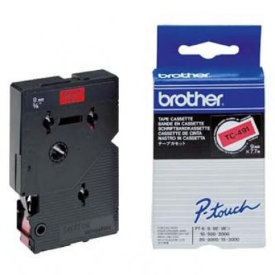Brother TC-491, 9mm x 7,7m, black text / red tape, original tape