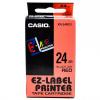 Casio XR-24RD1, 24mm x 8m, black text/red tape, original tape