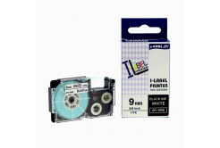 Compatible with tape Casio XR-9WE1, 9mm x 8m black printing / white background