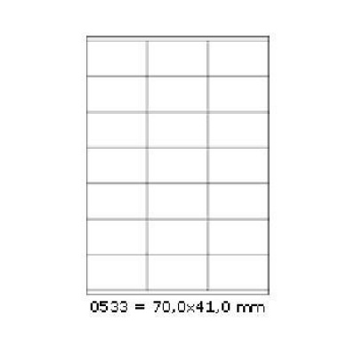 Selfadhesive labels 70 x 41 mm, 21 labels, A4, 100 sheets