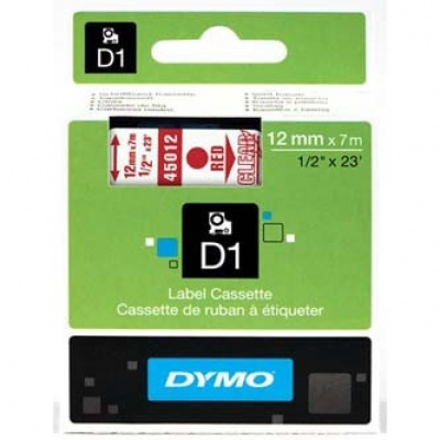 Dymo D1 45012, S0720520, 12mm x 7m, red text / clear tape, original tape