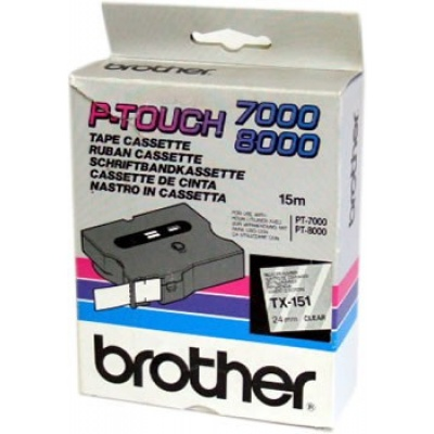 Brother TX-151, 24mm x 15m, black text / clear tape