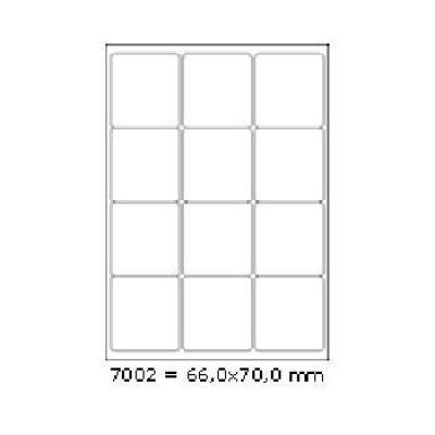 Samolepicí etikety 66 x 70 mm, 12 etiket, A4, 100 listů