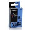 Casio XR-18BU1, 18mm x 8m, black text/blue tape, original tape