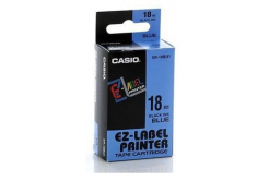 Casio XR-18BU1, 18mm x 8m, black text/blue tape, original tape