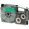Casio XR-12GN1, 12mm x 8m, black text/green tape, original tape