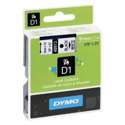Dymo D1 40913, S0720680, 9 mm x 7 m, black text/white tape, original tape