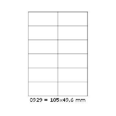 Selfadhesive labels 105 x 49,6 mm, 12 labels, A4, 100 sheets