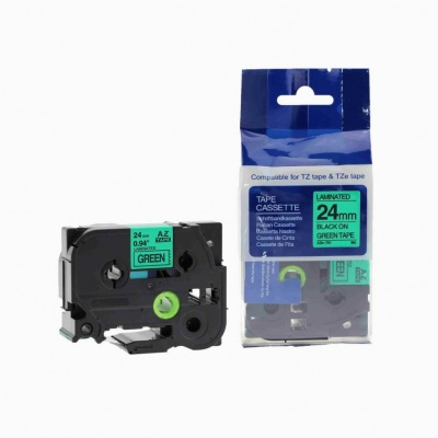 Brother TZ-751 / TZe-751, 24mm x 8m, black / green, compatible tape