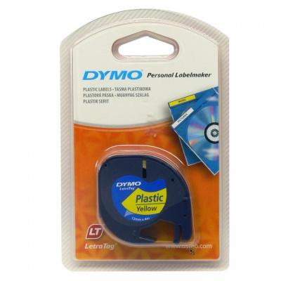 Dymo LetraTag 59423, S0721570, 12mm x 4m, black text/yellow tape, original tape