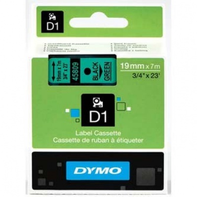Dymo D1 45809, S0720890, 19mm x 7m, black text/green tape, original tape