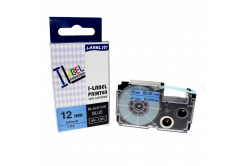 Compatible with tape Casio XR-12BU1, 12 mm x 8m black printing / blue background