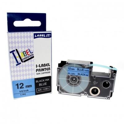 Casio XR-12BU1, 12mm x 8m black / blue, compatible tape