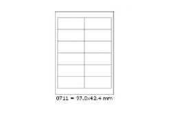 Selfadhesive labels 97 x 42,4 mm, 12 labels, A4, 100 sheets