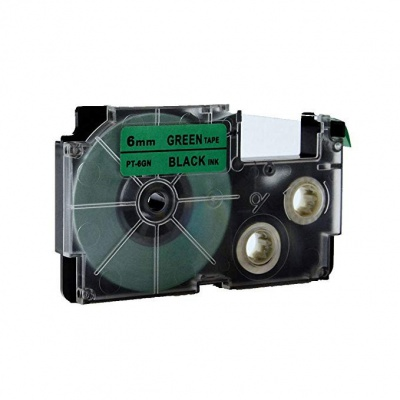 Casio XR-6GN1, 6mm x 8m black / green, compatible tape