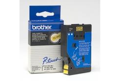 Brother TC-601, 12mm x 7,7m, black text / yellow tape, original tape