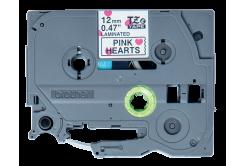 Brother original tape do tiskárny štítků, Brother, TZE-MPPH31, black text/white tape, 4m, 12mm, růžová srdce na pozadí