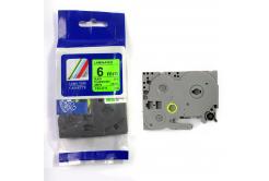 Brother TZ-D11/TZe-D11, signální 6mm x 8m, black / green, compatible tape