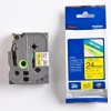 Brother TZ-651 / TZe-651, 24mm x 8m, black text / yellow tape, original tape