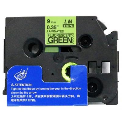 Brother TZ-D21/TZe-D21, signální 9mm x 8m, black / green, compatible tape