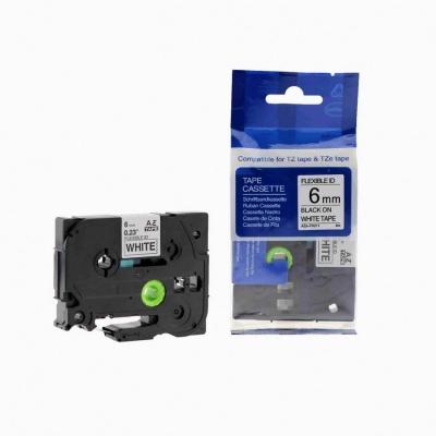 Brother TZ-FX211/TZe-FX211, 6mm x 8m, flexi, black / white, compatible tape