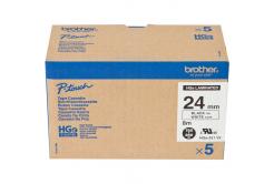 Brother original tape do tiskárny štítků, Brother, HGE-251, black text/white tape, 8m, 36mm, 5 pcs v balení, cena za balení