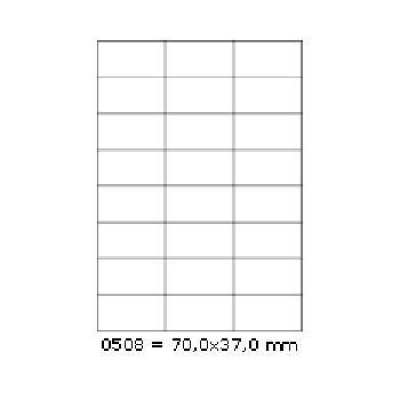 Selfadhesive labels 70 x 37 mm, 24 labels, A4, 100 sheets