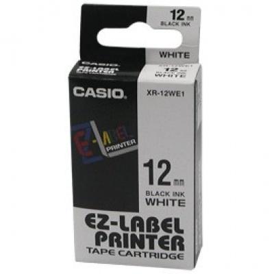 Casio XR-12WE1, 12mm x 8m, black text/white tape, original tape