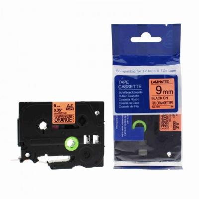 Brother TZ-B21/TZe-B21, signální 9mm x 8m, black / orange, compatible tape