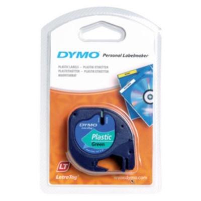 Dymo LetraTag 91204, S0721640, 12mm x 4 m, black text/green tape, original tape