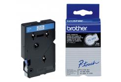 Brother TC-203, 12mm x 7,7m, blue text / white tape, original tape