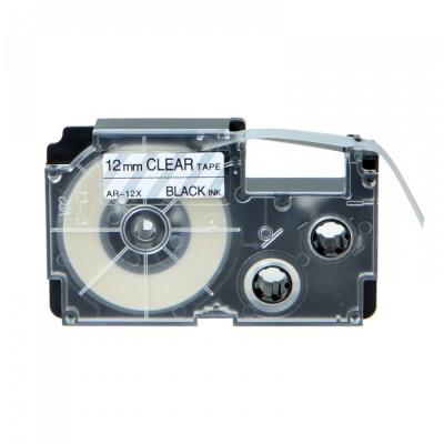Casio XR-12X1, 12mm x 8m black / clear, compatible tape