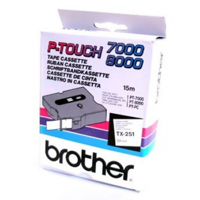 Brother TX-251, 24mm x 15m, black text / white tape, original tape