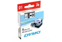 Dymo D1 43610, S0720770, 6mm x 7m black text / clear tape, original tape