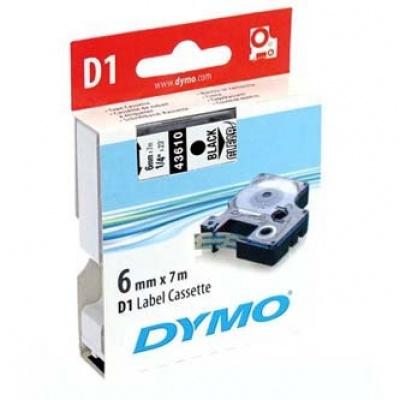 Dymo D1 43610, S0720770, 6mm x 7m black text / clear tape, original tape