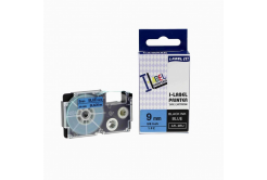 Compatible with tape Casio XR-9BU1, 9mm x 8m black printing / blue background