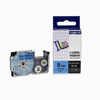 Casio XR-9BU1, 9mm x 8m black / blue, compatible tape
