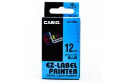 Casio XR-12BU1, 12mm x 8m, black text/blue tape, original tape