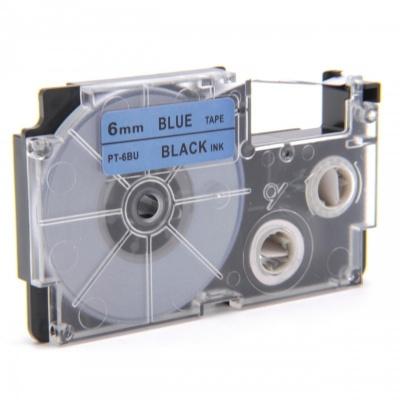 Casio XR-6BU1, 6mm x 8m black / blue, compatible tape
