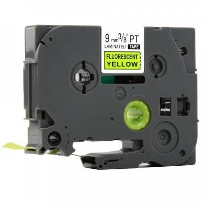 Brother TZ-C21/TZe-C21, signální 9mm x 8m, black / yellow, compatible tape