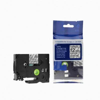 Brother TZ-FX131/TZe-FX131, 12mm x 8m, flexi black / clear, compatible tape